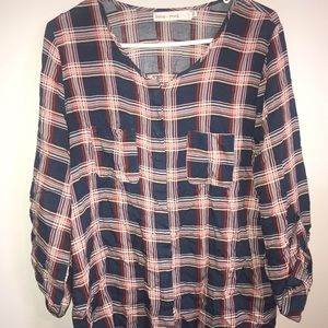light weight plaid double pocket shirt